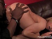 Busty blonde pussy licked by black horny stud