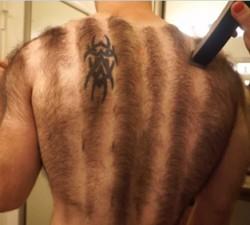 imagen Culturista peludo se afeita pecho y espalda