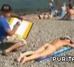 imagen arte nudista en la playa